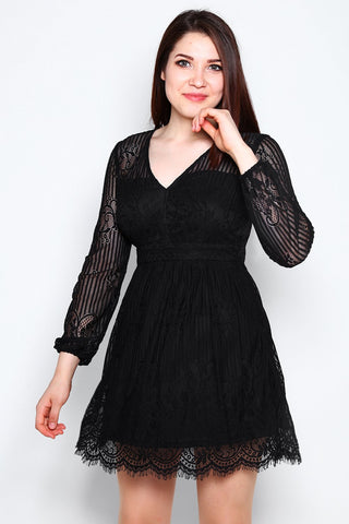 Black Lace V Neck Cocktail Dress - Jezzelle