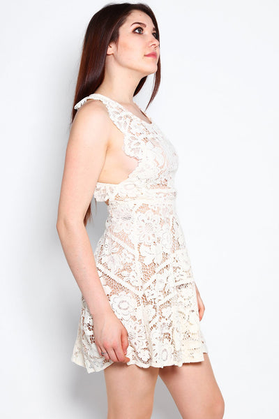 Cream Lace Open Back Summer Dress-Jezzelle