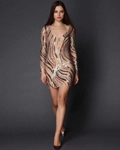 Sequins Embellished Nude Mini Dress-Jezzelle
