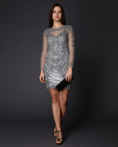 Hand-Embellishes Beads & Swarovski Crystals Evening Dress - Jezzelle