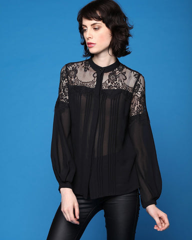 Romantic Black Lace Blouse