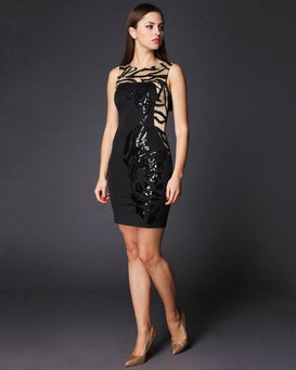 Sequinned Sleeveless Bodycon Dress-Jezzelle
