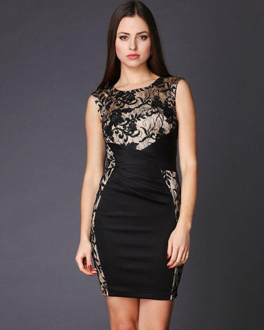 Lace Embellished Bodycon Dress-Jezzelle