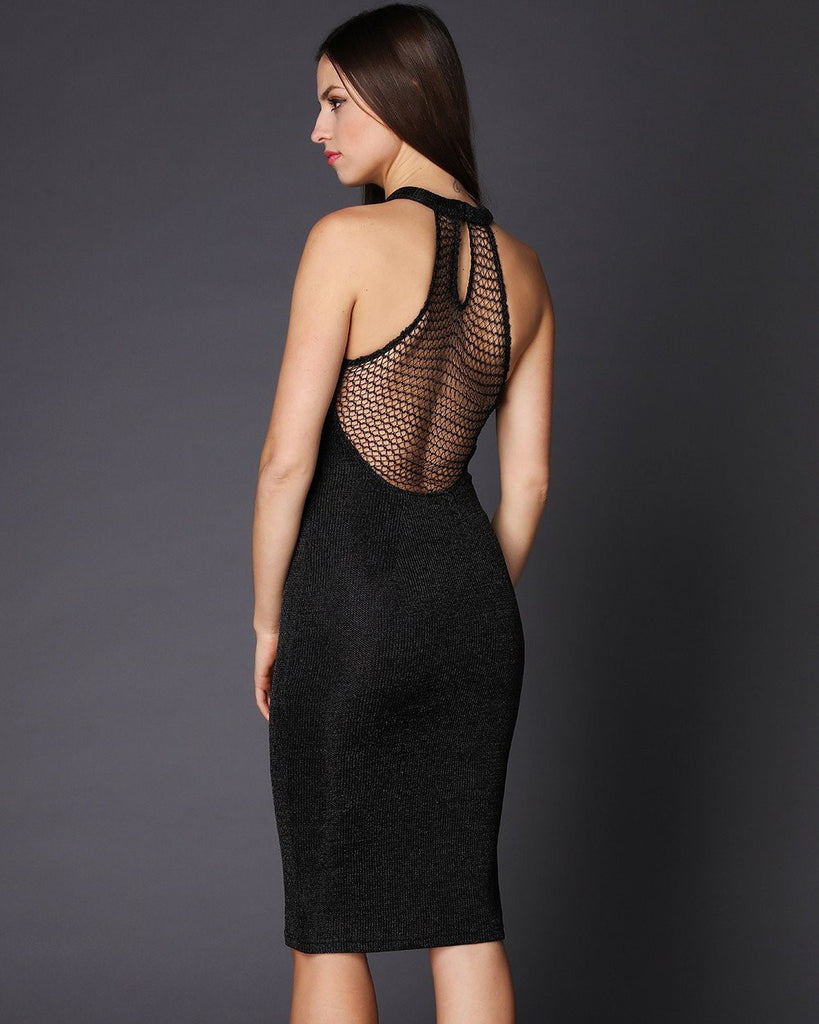 Halterneck Lurex Bodycon Dress - jezzelle  - 4
