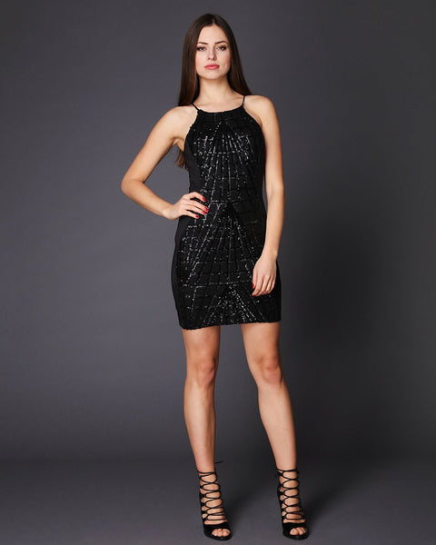 Sequinned Front Open Back Mini Dress-Jezzelle