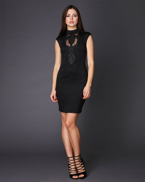 High Neck Embroidered Front Bodycon Dress - jezzelle  - 1