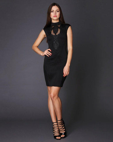 High Neck Embroidered Front Bodycon Dress - Jezzelle