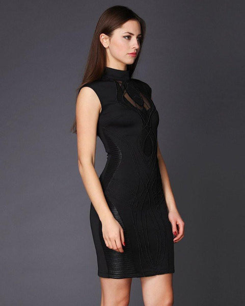 High Neck Embroidered Front Bodycon Dress-Jezzelle