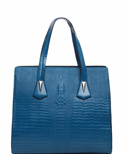 CROC EMBOSS BLUE BUSINESS BAG - Jezzelle