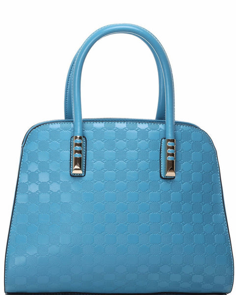 SKY BLUE TEXTURED HANDBAG-Jezzelle