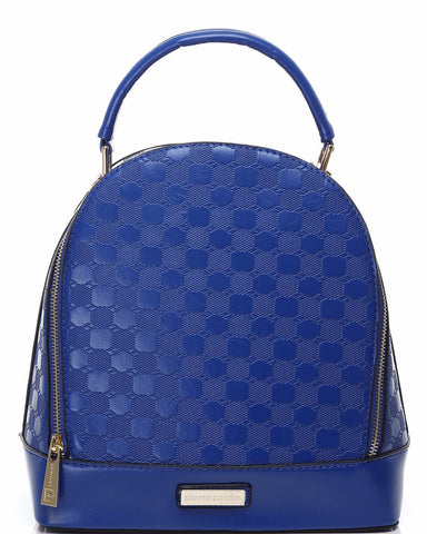 SMALL BLUE TEXTURED BACKPACK HANDBAG-Jezzelle