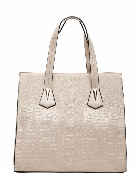 CROC EMBOSS BEIGE BUSINESS BAG - Jezzelle
