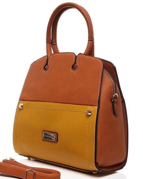 TWO TONE LEATHER LOOK BUSINESS BAG-Jezzelle