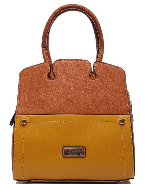 TWO TONE LEATHER LOOK BUSINESS BAG - Jezzelle