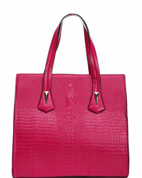 CROC EMBOSS FUCHSIA BUSINESS BAG - Jezzelle