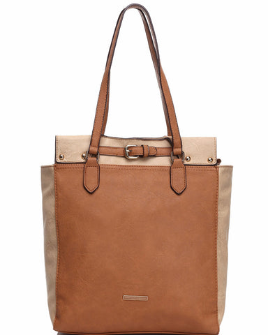 Dual Tone Soft Shopper Bag - Jezzelle