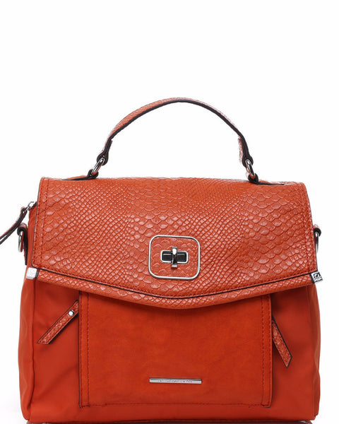 Orange Python Skin Look Flat Satchel - Jezzelle