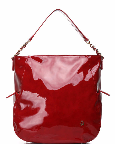 High Shine Patent PVC Red Shoulder Bag - Jezzelle