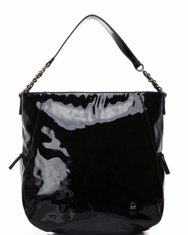 High Shine Patent PVC Black Shoulder Bag-Jezzelle