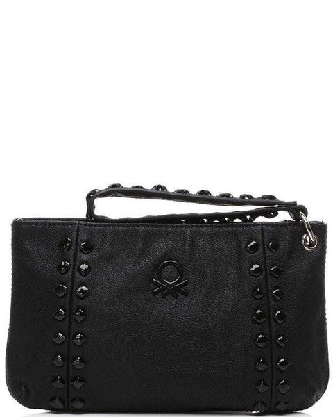 Studded Black Faux Leather Clutch-Jezzelle
