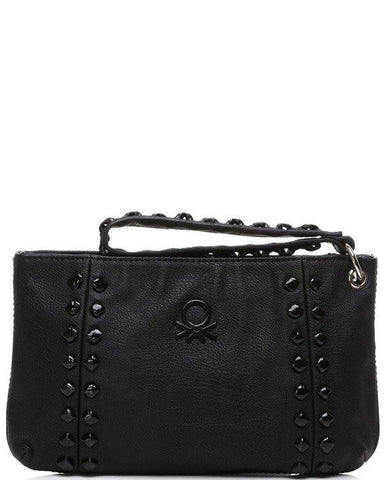 Studded Black Faux Leather Clutch - Jezzelle