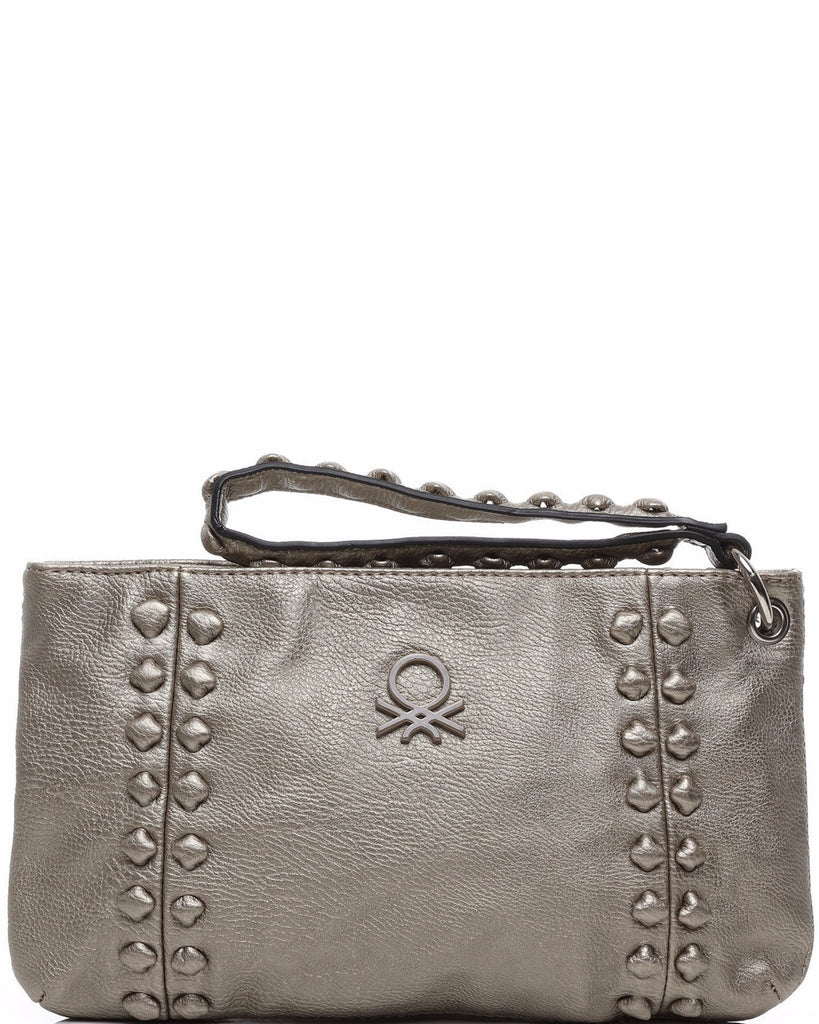 Studded Light Gold Faux Leather Clutch-Jezzelle