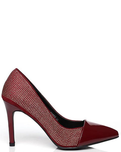 Golden Studs Embellished Red Patent Shoes-Jezzelle