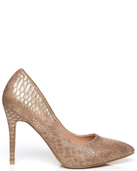 Faux Snake Skin Gold Shoes - Jezzelle