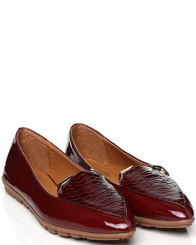 Metal Corners Detail Pointy Toe Flats-Jezzelle