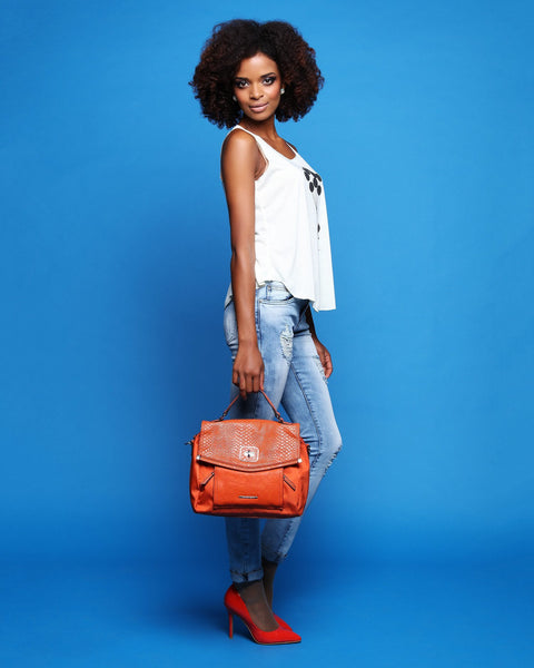 Orange Python Skin Look Flat Satchel-Jezzelle