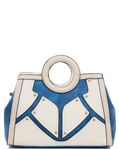 Blue & White Tote Handbag