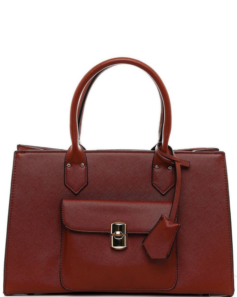 Textured Brown Handbag-Jezzelle