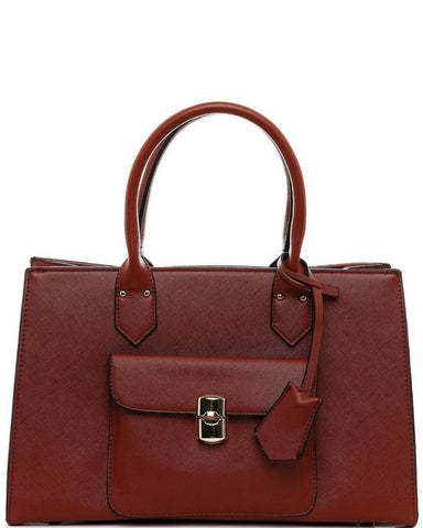 Textured Brown Handbag - Jezzelle