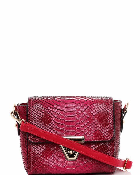 Croc Skin Effect Small Crossbody Bag - Jezzelle