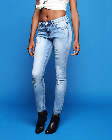 Distressed Effect Boyfriend Jeans - Jezzelle