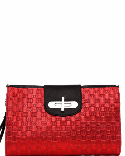 Genuine Leather Red Woven Clutch - jezzelle  - 1