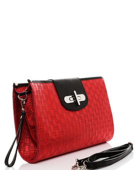 Genuine Leather Red Woven Clutch - jezzelle  - 2