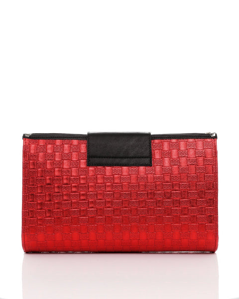 Genuine Leather Red Woven Clutch - jezzelle  - 3