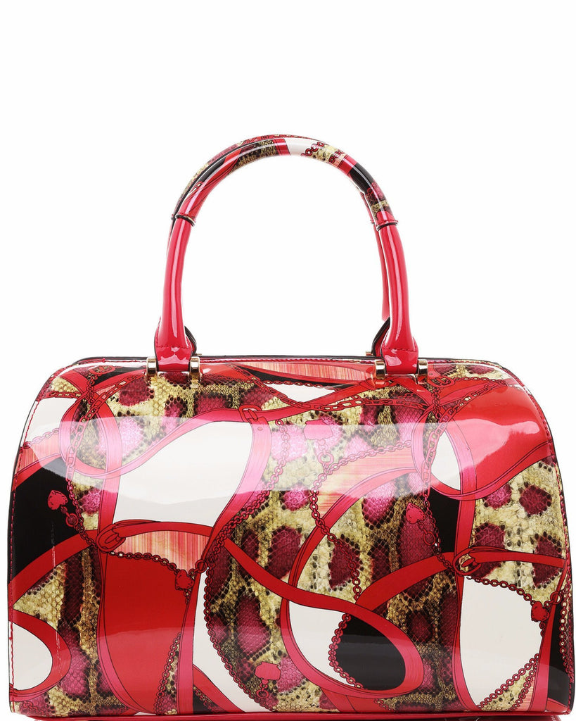 Mixed Print Patent Doctor Bag-Jezzelle