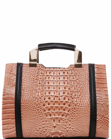 Croc Textured Tote Bag - Jezzelle