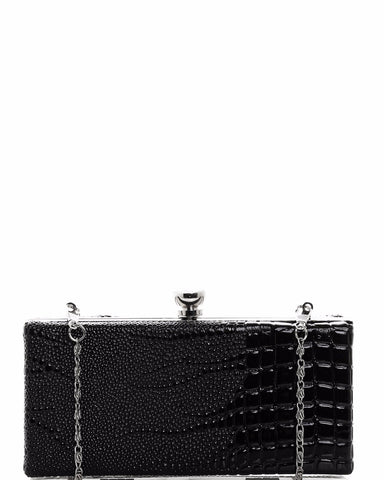 Croc Skin Effect Small Box Clutch - Jezzelle
