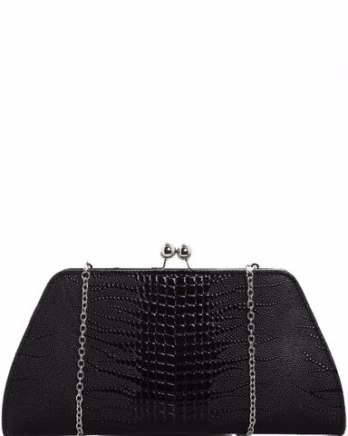 Croc Skin Effect Clutch Bag