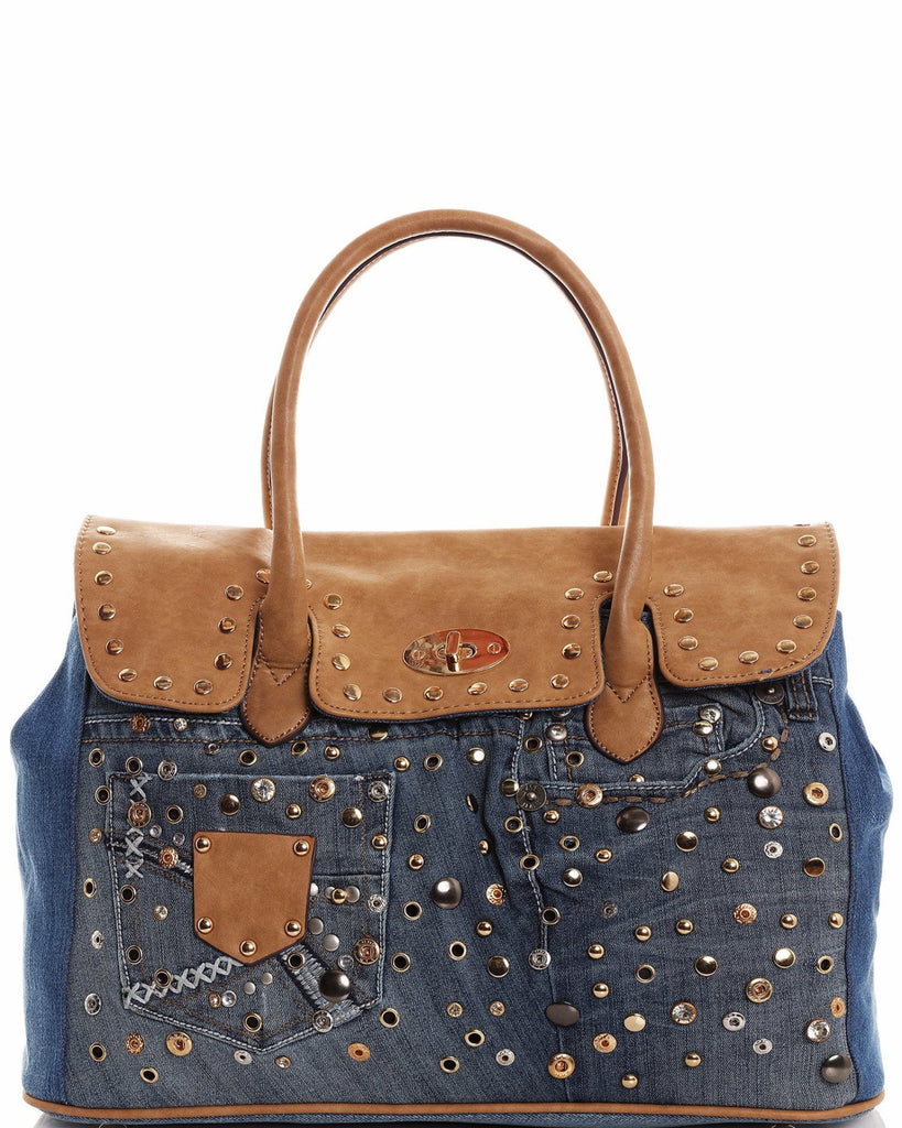 Embellished Denim Tote Bag-Jezzelle