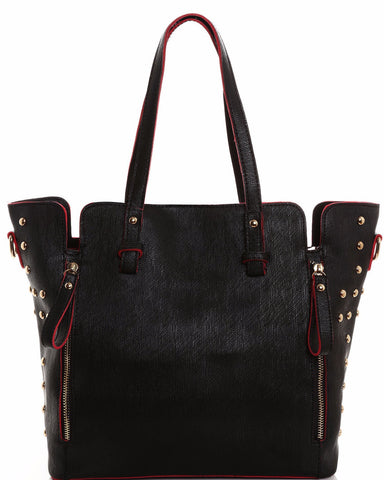 Studded Dual Tone Tote Bag