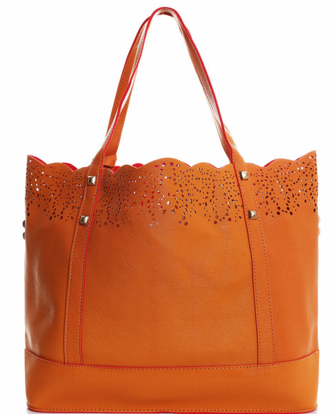 Perforated Details 2-in-1 Studded Tote Bag-Jezzelle