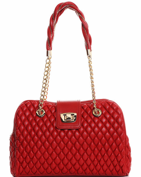 Red & Gold Quilted Shoulder Bag - Jezzelle