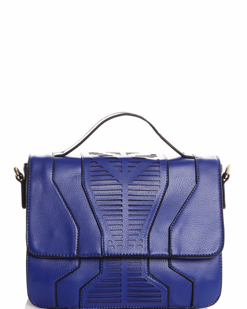 Perforated Detail Blue Shoulder Bag-Jezzelle