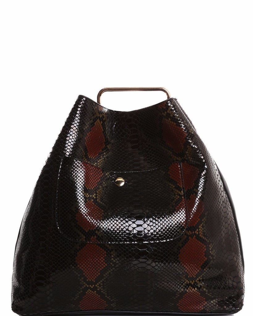 Python Skin Print 2-in-1 Black Shopper Bag-Jezzelle