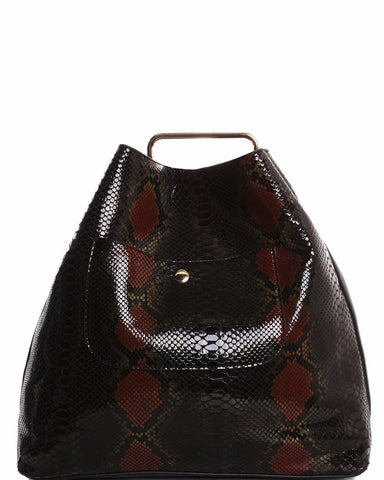 Python Skin Print 2-in-1 Black Shopper Bag - Jezzelle
