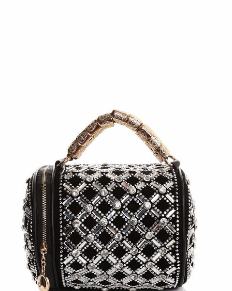 Encrusted Barrel Black Handbag - Jezzelle